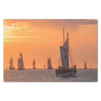 Windjammer in sunset light tissue paper