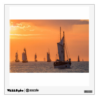Windjammer in sunset light wall decal