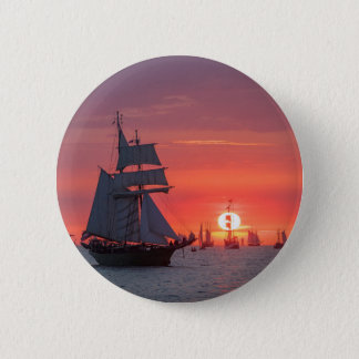 Windjammer in sunset on the Baltic Sea 2 Inch Round Button