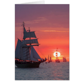 Windjammer in sunset on the Baltic Sea Card