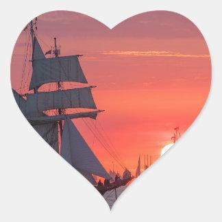 Windjammer in sunset on the Baltic Sea Heart Sticker