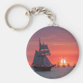 Windjammer in sunset on the Baltic Sea Keychain
