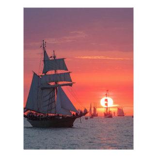 Windjammer in sunset on the Baltic Sea Letterhead