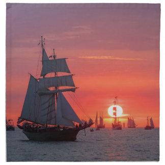 Windjammer in sunset on the Baltic Sea Napkin