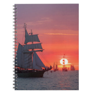 Windjammer in sunset on the Baltic Sea Notebook