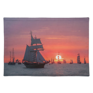 Windjammer in sunset on the Baltic Sea Placemat
