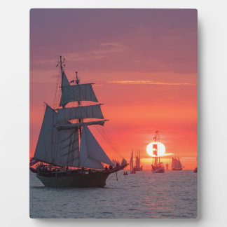 Windjammer in sunset on the Baltic Sea Plaque