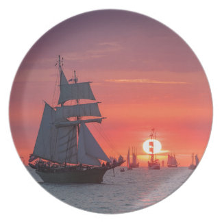 Windjammer in sunset on the Baltic Sea Plate