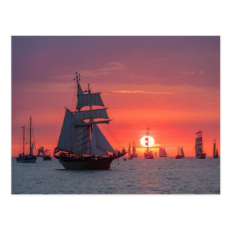 Windjammer in sunset on the Baltic Sea Postcard