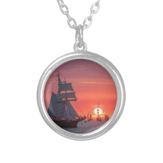 Windjammer in sunset on the Baltic Sea Silver Plated Necklace