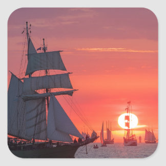 Windjammer in sunset on the Baltic Sea Square Sticker