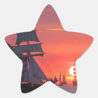 Windjammer in sunset on the Baltic Sea Star Sticker