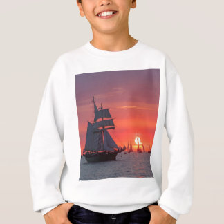 Windjammer in sunset on the Baltic Sea Sweatshirt