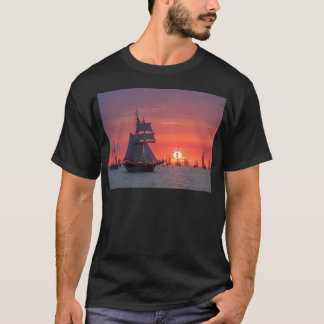 Windjammer in sunset on the Baltic Sea T-Shirt