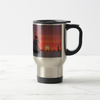 Windjammer in sunset on the Baltic Sea Travel Mug