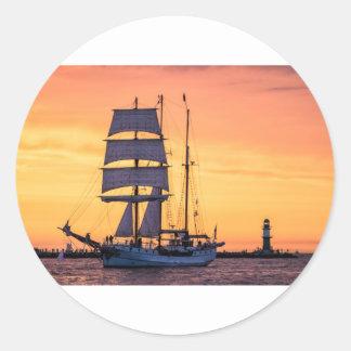 Windjammer on the Baltic Sea Classic Round Sticker