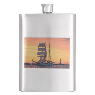 Windjammer on the Baltic Sea Hip Flask