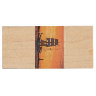 Windjammer on the Baltic Sea Wood USB 2.0 Flash Drive