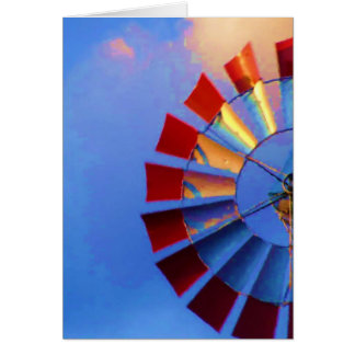 Windmill against blue sky, Indianapolis, Indiana Card