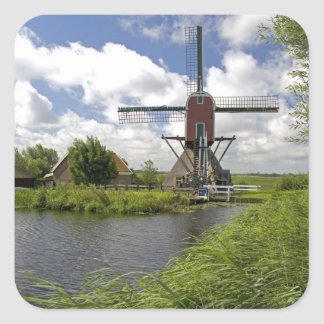 Windmill along a canal east of Leiden in the Square Sticker