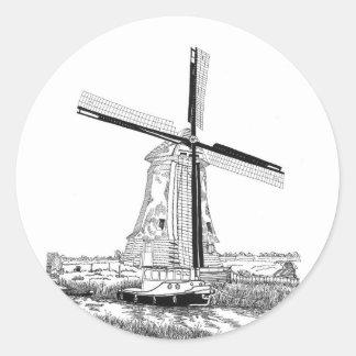 Windmill and Boat Sticker