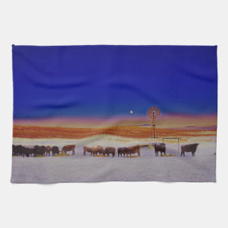 Windmill and Cows Night Feed Kitchen Towel