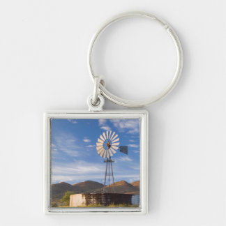 Windmill And Dam In The Karoo At Sunrise Silver-Colored Square Keychain