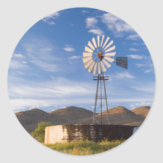 Windmill And Dam In The Karoo At Sunrise Round Sticker