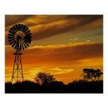 Windmill and Sunset, William Creek, Oodnadatta Poster
