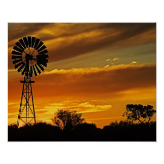 Windmill and Sunset, William Creek, Oodnadatta Poster