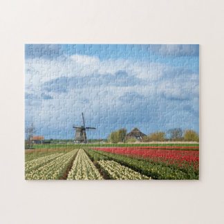 Windmill and tulips landscape jigsaw puzzle