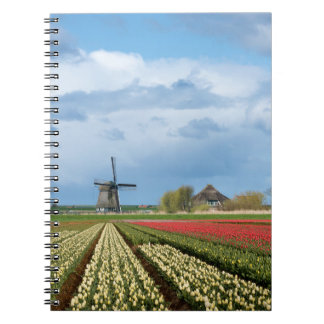 Windmill and tulips landscape notebook