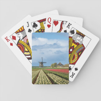 Windmill and tulips landscape poker deck