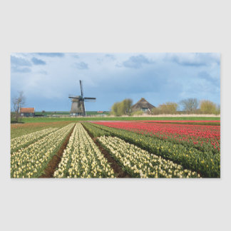Windmill and tulips landscape rectangular sticker
