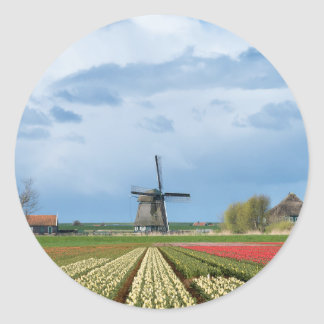 Windmill and tulips landscape round sticker