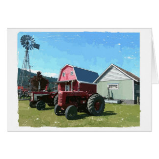 Windmill, Antique Tractors and Heritage Buildings Card