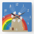 Windmill at a rainbow background square wall clock