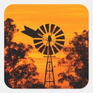 Windmill at Sunset Australia Square Stickers