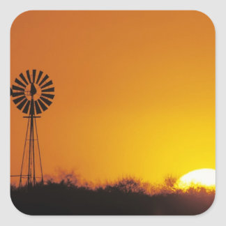 Windmill at sunset, Sinton, Texas, USA Square Sticker
