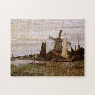 Windmill at Zaandam Monet Fine Art Jigsaw Puzzle