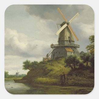 Windmill by a River Square Sticker