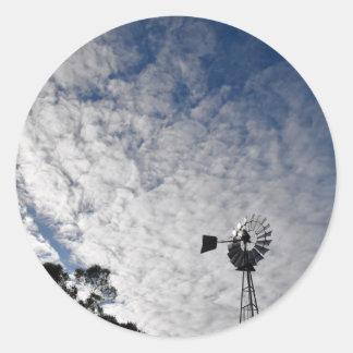 WINDMILL & CLOUDY  SKY QUEENSLAND AUSTRALIA CLASSIC ROUND STICKER