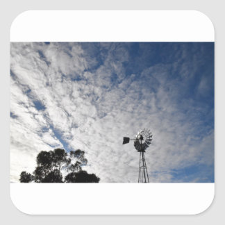 WINDMILL & CLOUDY  SKY QUEENSLAND AUSTRALIA SQUARE STICKER
