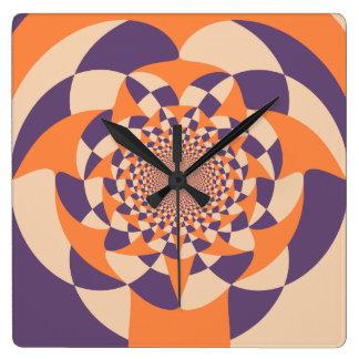 Windmill, geometric abstract design orange tangelo wallclocks