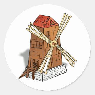 Windmill image round sticker