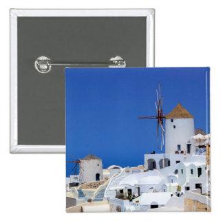 Windmill in Oia, Santorini, Greece 2 Inch Square Button