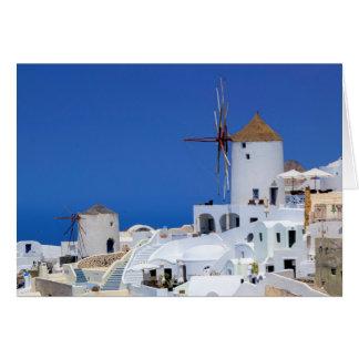 Windmill in Oia, Santorini, Greece Card