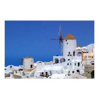 Windmill in Oia, Santorini, Greece Custom Stationery
