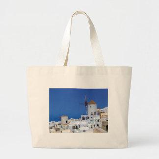Windmill in Oia, Santorini, Greece Large Tote Bag