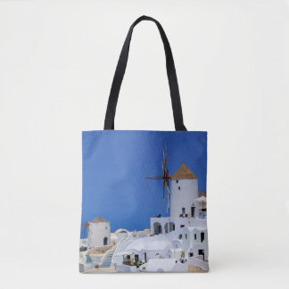 Windmill in Oia, Santorini, Greece Tote Bag